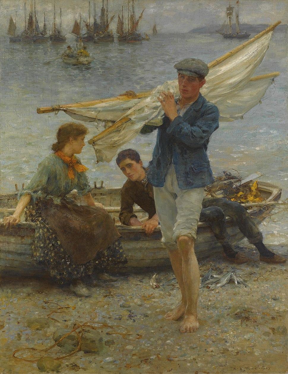 Henry Scott Tuke - Return from fishing (1907)