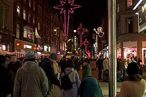 Night shot of Henry Street, Dublin, Ireland.