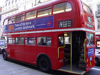 AEC Routemaster - Rear platform of a Routemaster, with updated hand-rails for Heritage Route operation