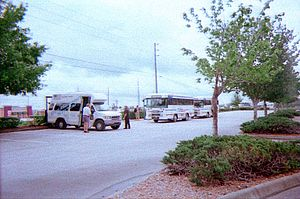 THE Bus (Hernando County, Florida) - The Brooksville Shuttle, and Blue Route join Hernando ParaTransit at the Mariner Square shopping center on SR 50 in Spring Hill, Florida.