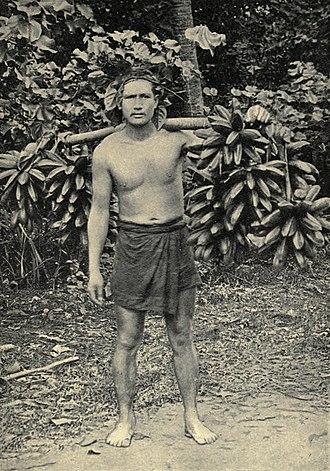 """Fe'i banana - Pre-1906 photograph titled """"Hillsman carrying feis to Papeete"""" (Tahiti)"""
