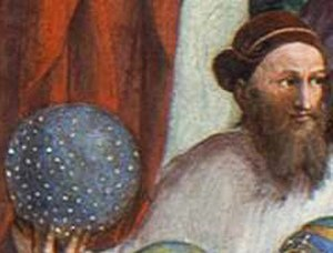 Hipparchus - Hipparchus holding his celestial globe, in Raphael's The School of Athens (c.1510)
