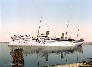 SMY Hohenzollern - Hohenzollern II in Venice, Italy. Photochrom print, 1890s