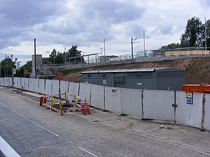 Hollinwood tram stop - Image: Hollinwood Metrolink station under construction