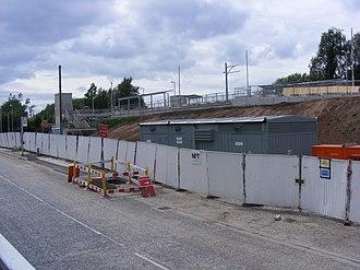 Hollinwood tram stop - Image: Hollinwood Metrolink station under construction