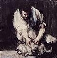 Hombre espulgando a un pequeño perro, Francisco de Goya.jpg