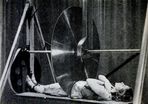 Sawing a woman in half - A later iteration of Horace Goldin's version of the trick, with a buzzsaw blade