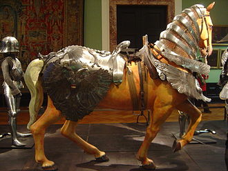 Barding - A set of armour with a criniere (protecting neck), peytral (protecting chest) and the croupiere (protecting hind quarters).  Kunsthistorisches Museum, Vienna, Austria.