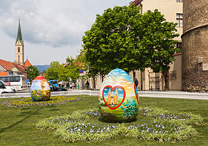 Egg decorating - Huge Easter eggs in front of the Zagreb Cathedral (Croatia)