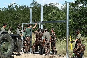 Hungarian border barrier - Image: Hungarian Serbian border barrier 0