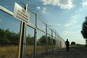 Hungarian border barrier - Image: Hungarian Serbian border barrier 1