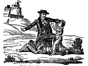 The Newgate Calendar - Image of child murderer Thomas Hunter (executed August 1700) from The Newgate Calendar
