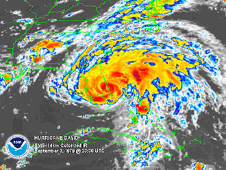 Hurricane David - Hurricane David shortly after landfall in Florida on September 3