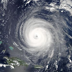 Annular tropical cyclone - Satellite image of Hurricane Isabel of 2003 showing the large, circular, and symmetric eye characteristic of annular tropical cyclones