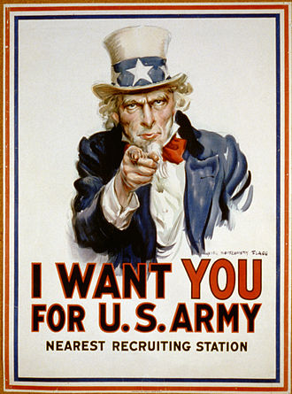 Selective Service Act of 1917 - Uncle Sam pointing his finger at the viewer in order to recruit soldiers for the American Army during World War I, 1917-1918.