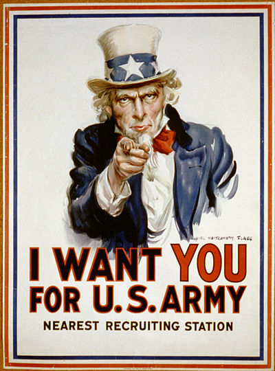 Poster shows Uncle Sam pointing his finger at the viewer in order to recruit soldiers for the American Army during World War I. I want you for U.S. Army 3b48465u original.jpg