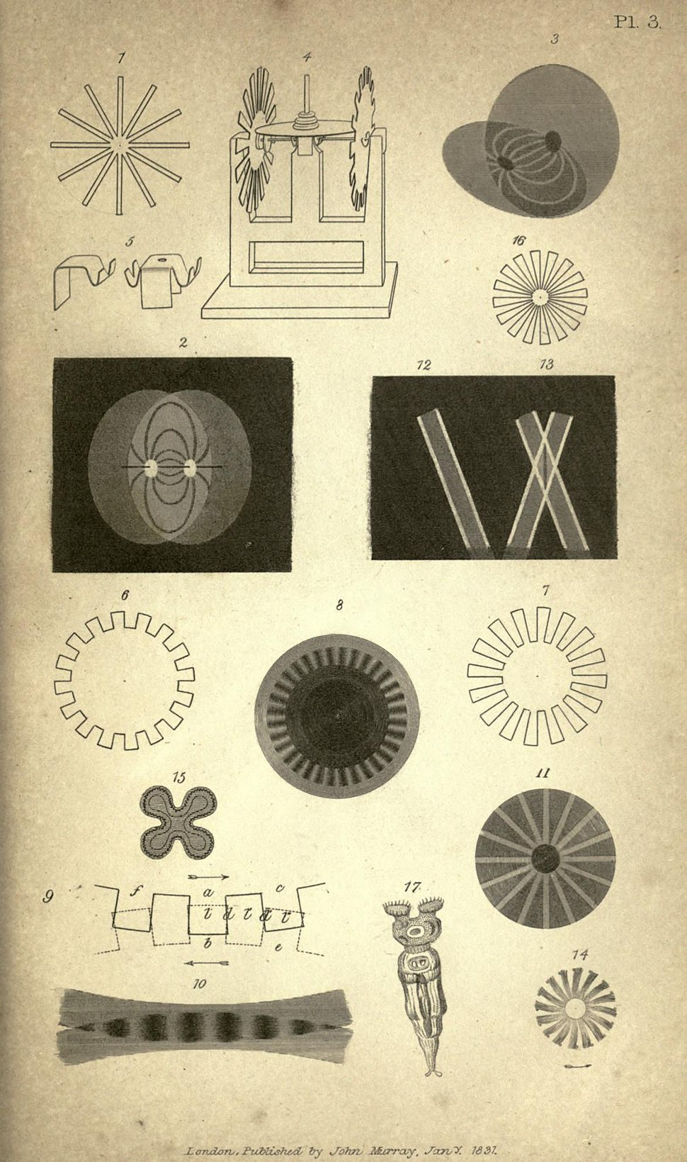 "Illustrations of Michael Faraday's paper ""On a Peculiar Class of Optical Deceptions"" (1831)"