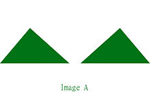 "Two identical green triangles with the text ""Image A"" under them, all on a white background"