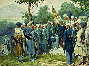 Chechnya - Imam Shamil of Chechnya and Dagestan surrendering to Russian general Baryatinsky in 1859; painting by Aleksey Kivshenko.