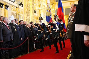Inauguration of Dmitry Medvedev - Soldiers are carrying Flag of Russia and Flag of President of Russia.
