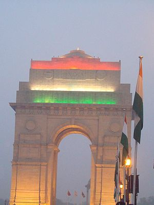 India Gate - India Gate Delhi illuminated with Indian Flag Colours