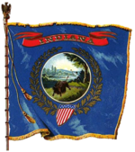 Previous State Flag, utilizing the Seal of Indiana.[1]