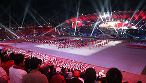Indonesian athletes marching, SEA Games 2011 Opening.jpg
