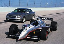 infiniti indy car next to a production q45