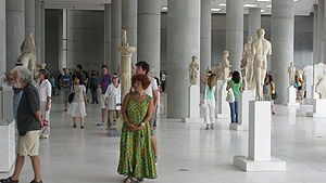 Interior of the New Acropolis Museum of Athens.