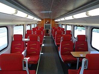New Mexico Rail Runner Express - Interior of the Rail Runner, top deck