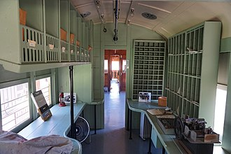 Railway post office - The RPO section of preserved Texas Electric Railway Car 360, at the Interurban Railway Museum in Plano, Texas