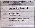 Iowa District 3 congressional election ballot (5140150442).jpg