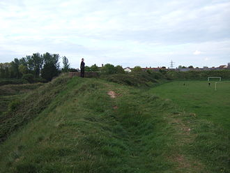 Sudbrook, Monmouthshire - View of the hillfort, showing part of the ramparts