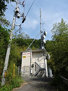 Small, fenced building with antennas on a wooded hillside