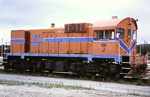 Western Australian Government Railways - J104 at Forrestfield in March 1986 in Westrail livery