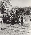 JEEP TRAIN LOAD OF NATIVES AT THE RAILWAY STATION OF MEMBAKUT, BORNEO.JPG