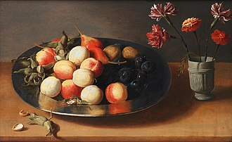 Jacob Foppens van Es - Fruit, nuts and a vase of carnations on a table top