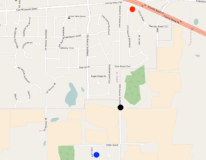 Jacob Wetterling - Red circle: Convenience store Black circle: Kidnapping location Blue circle: Jacob Wetterling's home