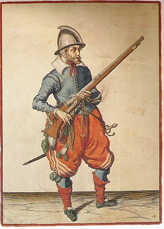 History of the firearm - Page showing a musketeer (Plate 4) from Jacob de Gheyn's Wapenhandelinghe van Roers, Musquetten ende Spiessen (1608)