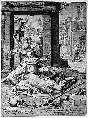 Jael - Jan Saenredam engraving picturing Jael killing Sisera