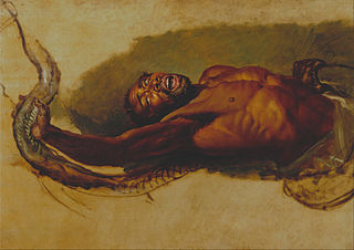 """Man Struggling with a Boa Constrictor, Study for """"The Liboya Serpent Seizing His Prey"""""""