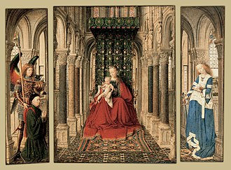 Dresden Triptych - View of the inner wings. The two outer wings contain an Annunciation scene in grisaille. Oil on oak panel, 1437. Gemäldegalerie Alte Meister, Dresden. 33.1cm × 13.6cm; 33.1cm × 27.5cm; 33.1cm × 13.6cm