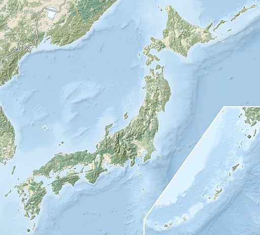 Japan natural location map with side map of the Ryukyu Islands