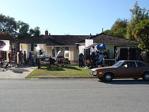 Jobs (film) - Crew filming Jobs at Steve Jobs' childhood home in Los Altos, California.