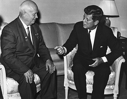 The Sino-Soviet split facilitated Russian and Chinese rapprochement with the United States and expanded East-West geopolitics into a tri-polar Cold War that allowed Premier Nikita Khrushchev to meet with President John F. Kennedy in June 1961 John Kennedy, Nikita Khrushchev 1961.jpg