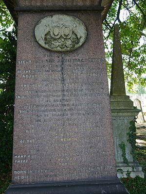 John Macdonald (British Army officer) - Monument detail, Kensal Green Cemetery
