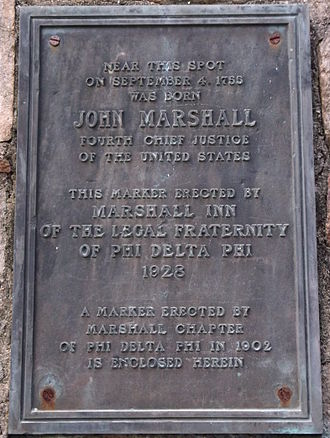 John Marshall Birthplace Park - Plaque affixed to monument