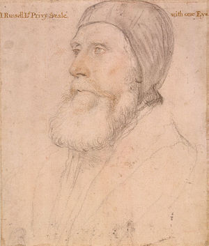 George Blagge - John Russell, 1st Earl of Bedford: a chalk drawing by Hans Holbein the Younger. According to Foxe, it was Russell who saved Blagge by alerting Henry VIII to his plight.
