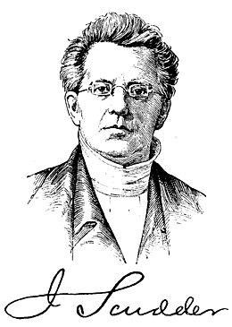Drawing of a bespectacled, serious-looking John Scudder Sr.