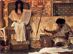 Joseph's Granaries - Joseph, Overseer of Pharaoh's Granaries by Lawrence Alma-Tadema (1874).